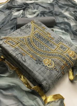 Grey Cotton Casual Wear Printed Work Salwar Suit