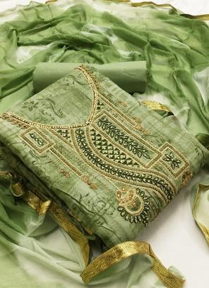 Light Green Cotton Casual Wear Printed Work Unstitched Salwar Suit