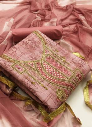 Pink Cotton Casual Wear Printed Work Unstitched Salwar Suit