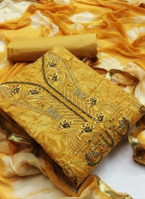 Yellow Cotton Casual Wear Printed Work Unstitched Salwar Suit