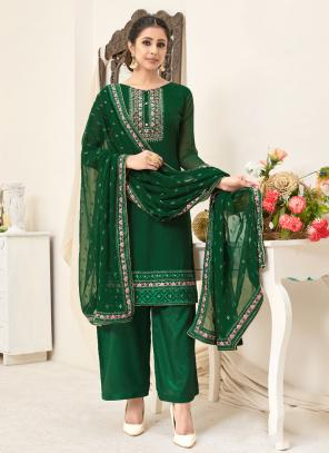 Green Georgette Festival Wear Embroidery Palazzo Suit