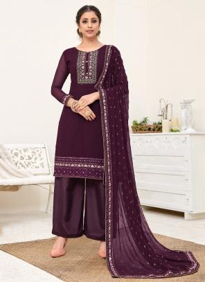 Purple Georgette Festival Wear Embroidery Palazzo Suit