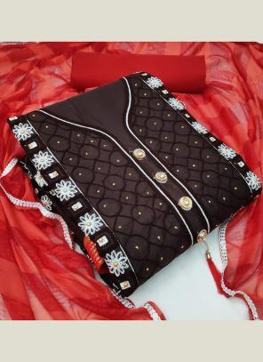 Black PC Cotton Casual Wear Fancy Embroidery Salwar Suit