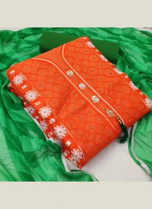 Orange PC Cotton Casual Wear Fancy Embroidery Salwar Suit