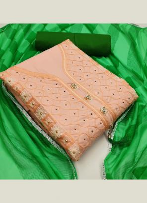 Peach PC Cotton Casual Wear Embroidery Work Salwar Suit