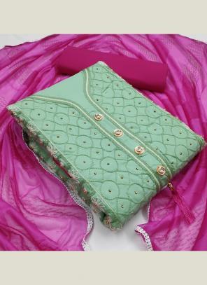 Pista Green PC Cotton Casual Wear Fancy Embroidery Salwar Suit