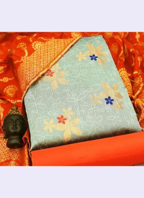 Grey Banarasi Silk Casual Wear Embroidery Work Salwar Suit