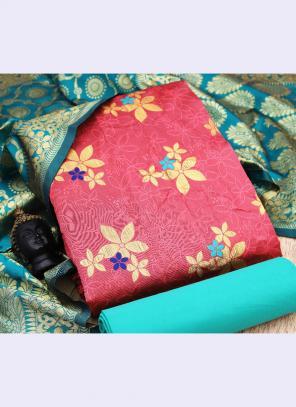 Pink Banarasi Silk Casual Wear Embroidery Work Salwar Suit