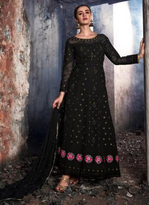 Black Georgette Reception Wear Stone Work Anarkali Suit