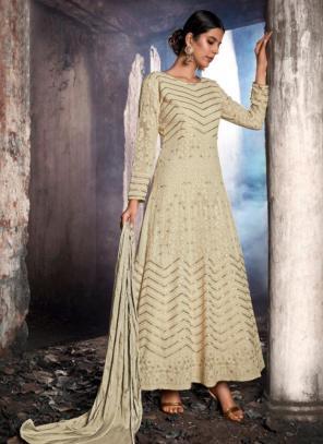Cream Georgette Reception Wear Stone Work Anarkali Suit