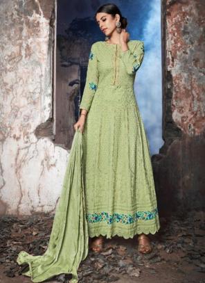 Light Green Georgette Reception Wear Stone Work Anarkali Suit