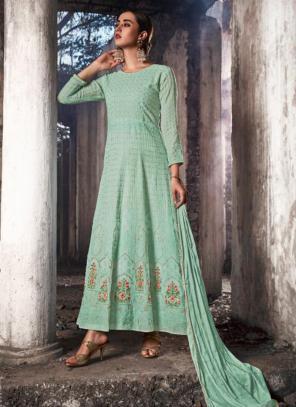 Pista Green Georgette Reception Wear Stone Work Anarkali Suit