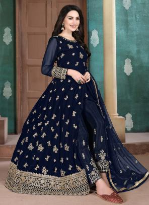 Blue Faux Georgette Party Wear Embroidery Work Anarkali Suit
