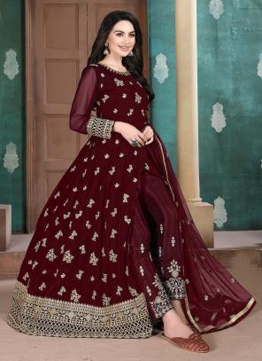 Maroon Faux Georgette Party Wear Embroidery Work Anarkali Suit