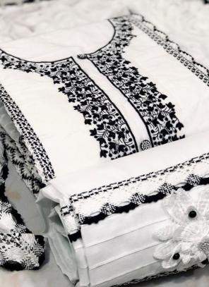 White Cotton Casual Wear Multi Work Salwar Suit