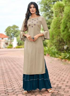 Beige Rayon Casual Wear Embroidery Work Kurti With Sharara