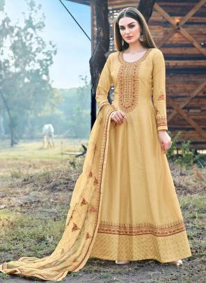 Beige Dola Silk Festival Wear Embroidery Work Anarkali Suit
