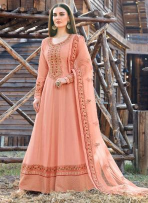 Light Peach Dola Silk Festival Wear Embroidery Work Anarkali Suit