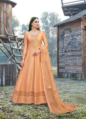 Peach Dola Silk Festival Wear Embroidery Work Anarkali Suit