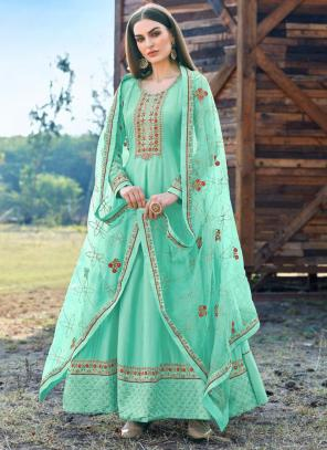 Pista Green Dola Silk Festival Wear Embroidery Work Anarkali Suit