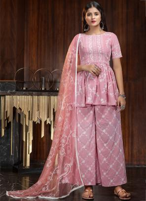 Pink Georgette Party Wear Diamond Work Palazzo Suit