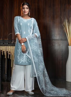Sky Blue Georgette Party Wear Diamond Work Palazzo Suit