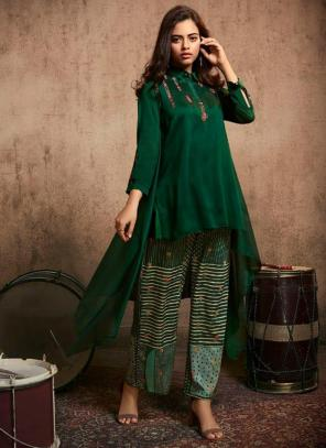 Dark Green Berry Silk Party Wear Embroidery Work Kurti With Pant