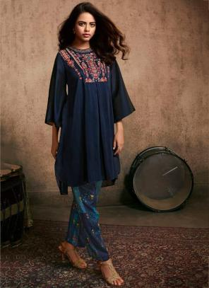 Navy Blue Berry Silk Party Wear Embroidery Work Kurti With Pant