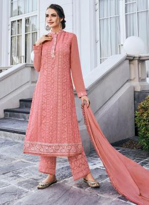 Light Pink Georgette Embroidery Work Party Wear Readymade Palazzo Suit
