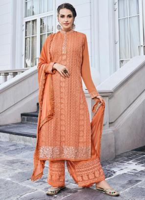 Peach Georgette Embroidery Work Party Wear Readymade Palazzo Suit