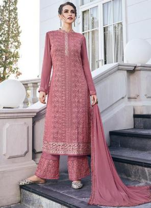 Pink Georgette Embroidery Work Party Wear Readymade Palazzo Suit