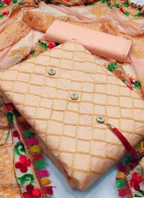 Peach Chanderi Party Wear Fancy Salwar Suit