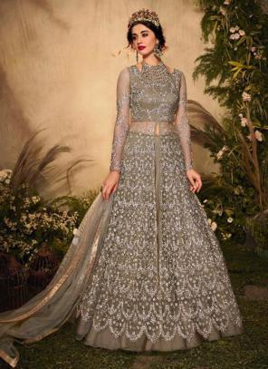 Brown Net Reception Wear Heavy Embroidery Work Anarkali Suit