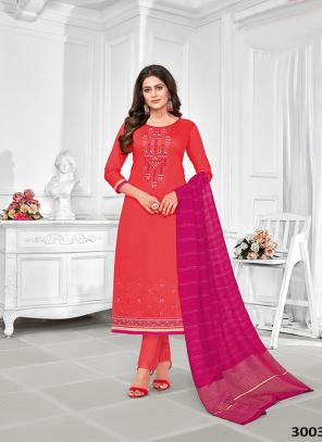 Dark Pink Jam Cotton Regular Wear Embroidery Work Churidar Suit