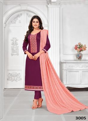 Purple Jam Cotton Regular Wear Embroidery Work Churidar Suit