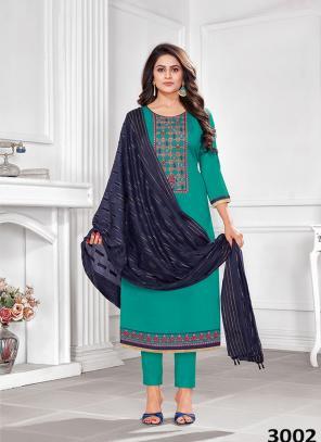 Teal Blue Jam Cotton Regular Wear Embroidery Work Churidar Suit
