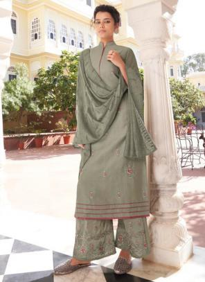 Light Grey Modal Viscose Party Wear Embroidery Work Readymade Palazzo Suit