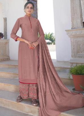Pink Modal Viscose Party Wear Embroidery Work Readymade Palazzo Suit