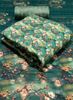 Green Pashmina Casual Wear Printed Work Dress Material