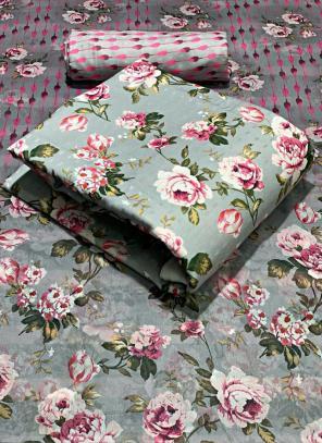 Grey Fancy Pashmina Casual Wear Printed Work Dress Material