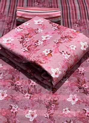 Pink Pashmina Casual Wear Printed Work Dress Material