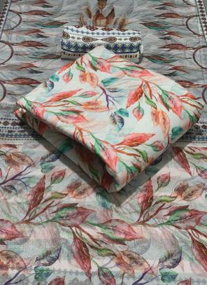 White Pashmina Casual Wear Printed Work Dress Material