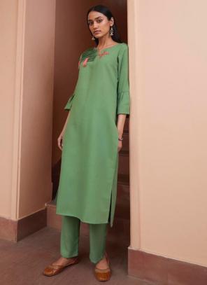 Green Majic Club Regular Wear Hand Work Kurti With Pant