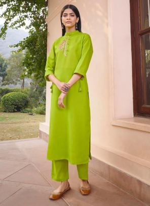 Light green Majic Club Regular Wear Hand Work Kurti With Pant