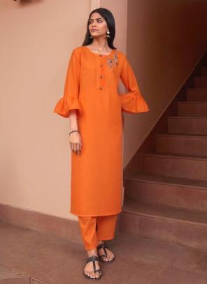 Orange Majic Club Regular Wear Hand Work Kurti With Pant