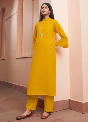 Yellow Majic Club Regular Wear Hand Work Kurti With Pant
