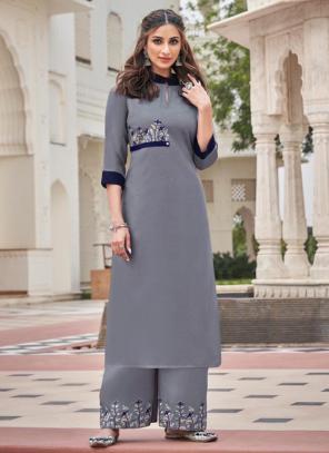Grey Majic Club Casual Wear Embroidery Work Kurti With Pant