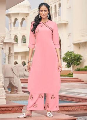 Light Pink Majic Club Casual Wear Embroidery Work Kurti With Pant
