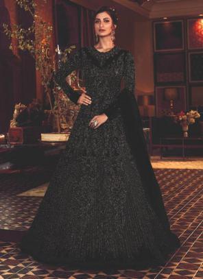 Black Net Wedding Wear Heavy Embroidery Work Anarkali Suit