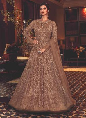 Brown Net Wedding Wear Heavy Embroidery Work Anarkali Suit